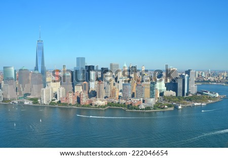 Cityscape view of Lower Manhattan as seen from helicopter, New York City, USA. - stock photo