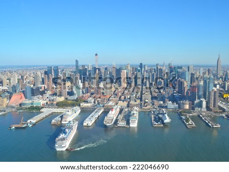 Cityscape view of Manhattan as seen from helicopter, New York City, USA. - stock photo