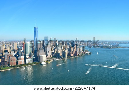 Cityscape view of Manhattan, New York City, USA. - stock photo