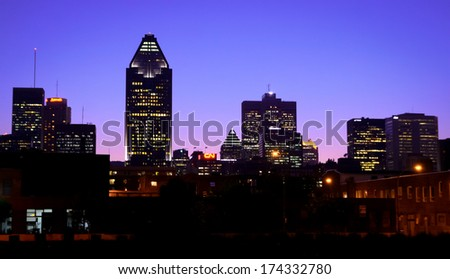 Cityscape view of Montreal at blue hour time.  Silhouette buildings. - stock photo