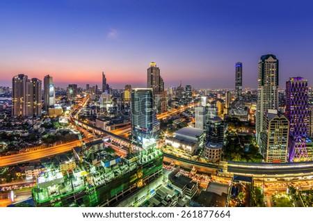 Cityscape View of the Bangkok Sathorn area at twilight. - stock photo