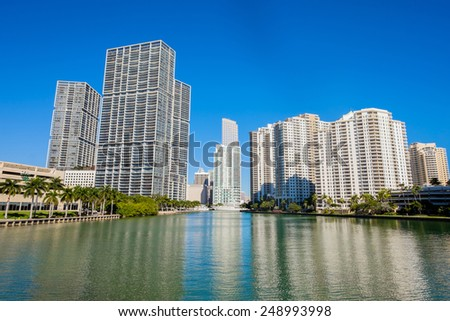 Cityscape view of the Brickell Key area in downtown Miami along Biscayne Bay. - stock photo