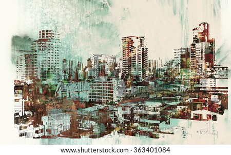 cityscape with abstract textures,illustration painting - stock photo