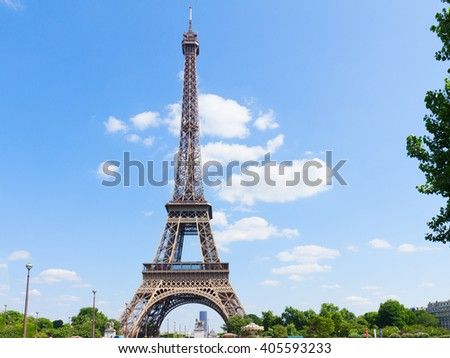 cityscape with Eiffel Tower  at summer day, Paris,  France
