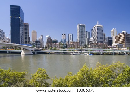 Cityscape with green bushes of Brisbane, Australia.