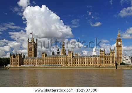 cityscape with houses of parliament and big ben, london, england, united kingdom - stock photo