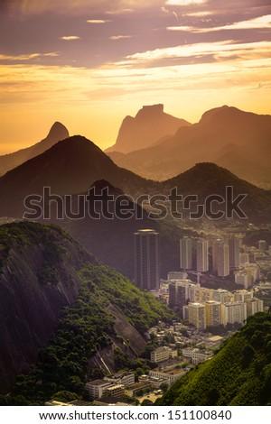 Cityscape with mountain range in the background, Rio De Janeiro, Brazil - stock photo
