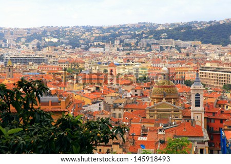 Cityscape with red tile roofs of Nice(Cote d'Azur, France), view from above