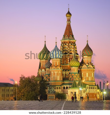 Cityscape with the image of night St. Basil Cathedral in Moscow - stock photo
