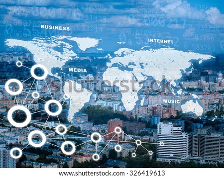 Cityscape with world map and computer icons