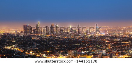 cityview of Los Angeles by night - stock photo