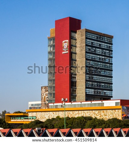 CIUDAD DE MEXICO / MEXICO - FEBRUARY 23 2016: View of the Rectoria Building of National Autonomous University of Mexico (Universidad Nacional Autonoma de Mexico, UNAM) - stock photo