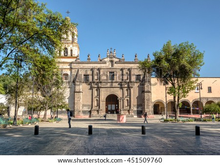 CIUDAD DE MEXICO / MEXICO - JANUARY 28 2015: San Juan Bautista Parish, Coyoacan. Built between 1520 and 1552, it is one of oldest churches in Mexico City - stock photo