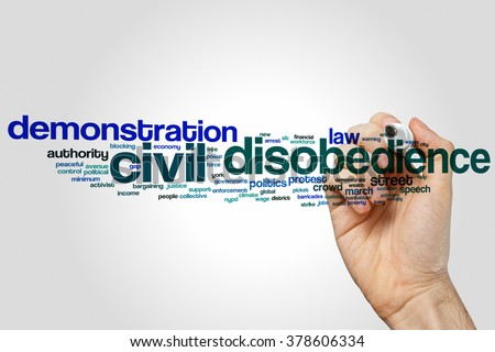 Civil disobedience word cloud concept with demonstration protest related tags - stock photo