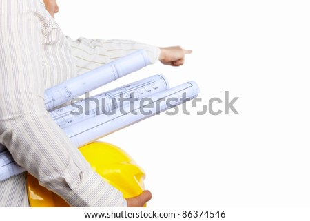 Civil engineer and partner body's part, isolated over white background - stock photo