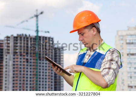 Civil engineer at the construction site.