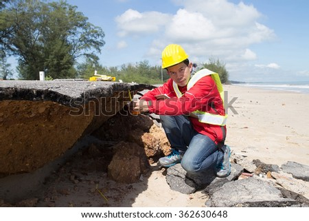 Civil Engineer check Beach Road slide along the beach to water erosion