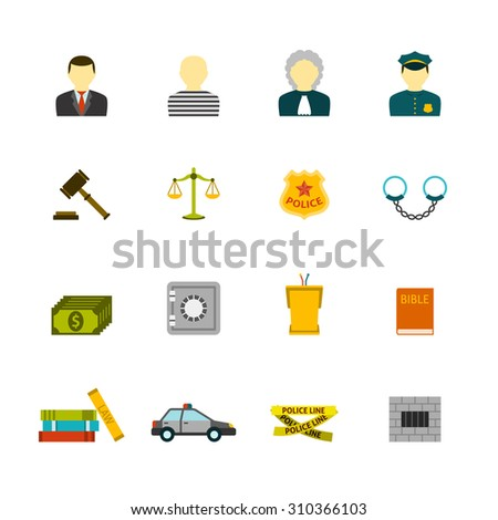 Civil law justice crime and punishment flat icons collection  with prisoner bible book abstract isolated  illustration