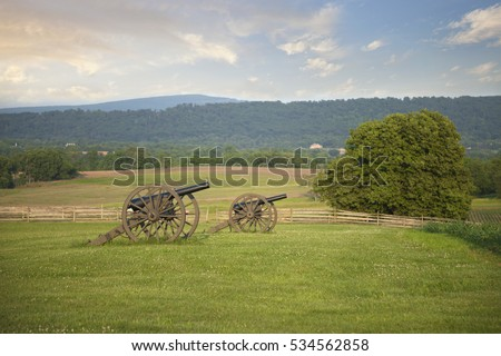 Civil War cannons at Antietam (Sharpsburg) battlefield in Maryland