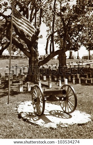 Civil War cemetery or graveyard.  Sepia toned for a vintage look and feel - stock photo