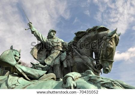 Civil War Soldier Statue in Washington DC - stock photo