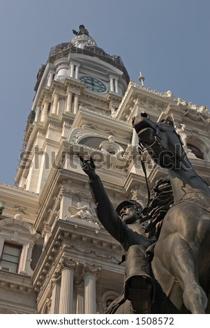 Civil War Statue and Philadelphia City Hall - stock photo