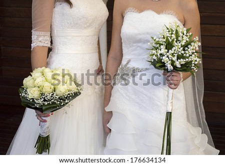 civil wedding of a lesbian couple - stock photo