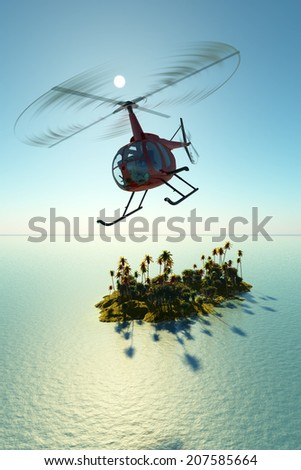 Civilian helicopter over the island in sea. - stock photo