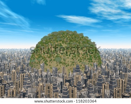 Civilization and Nature Computer generated 3D illustration - stock photo