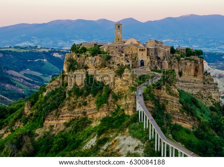 Civita Di Bagnoregio Surrounding Mountains Stock Photo 630084188 ...