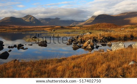 Clach Leathad and Meall a Bhuiridh and the Black Mount on Rannoch Moor in Autumn.