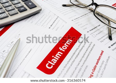 Claim form, paperwork and legal document - stock photo