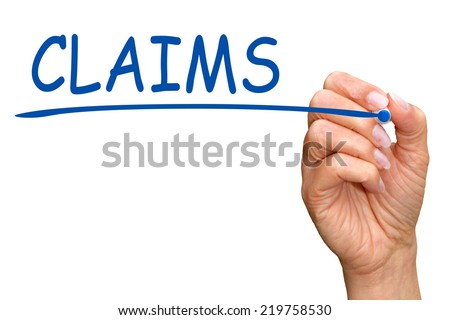 Claims - female hand with blue text on white background - stock photo