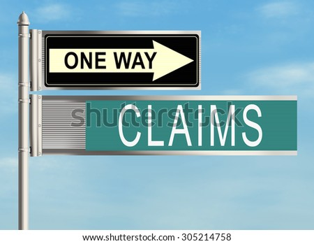 Claims. Road sign on the sky background. Raster illustration.