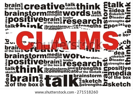CLAIMS word on collage words background - stock photo