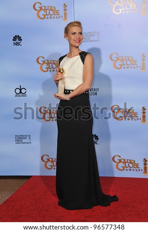 Claire Danes at the 69th Golden Globe Awards at the Beverly Hilton Hotel. January 15, 2012  Beverly Hills, CA Picture: Paul Smith / Featureflash - stock photo