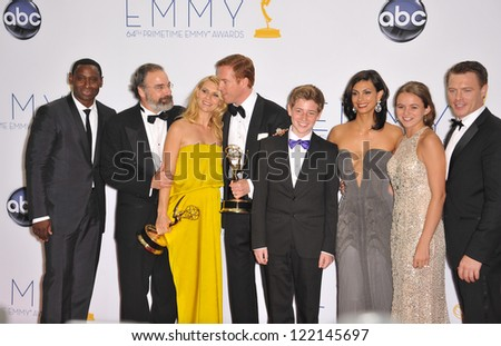 Claire Danes & Damian Lewis & stars of Homeland at the 64th Primetime Emmy Awards at the Nokia Theatre LA Live. September 23, 2012  Los Angeles, CA Picture: Paul Smith