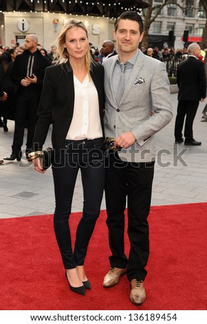 Claire Harding and Tom Chambers arriving for the Iron Man 3 Premiere, Odeon Leicester Square, London. 18/04/2013 Picture by: Steve Vas