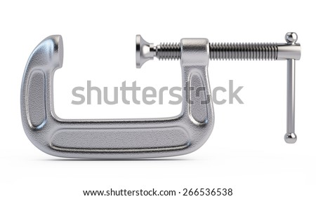 Clamp tool isolated on white background - stock photo