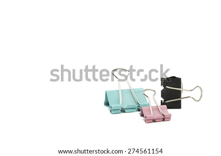 clamps for papers on a white background - stock photo