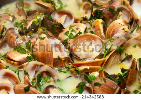 Clams in green sauce, cooked with white wine and parsley.  - stock photo