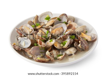 Clams Steamed in Sake japanese food - stock photo