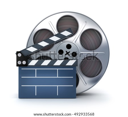Clap-board and film spool on white background (done in 3d rendering)