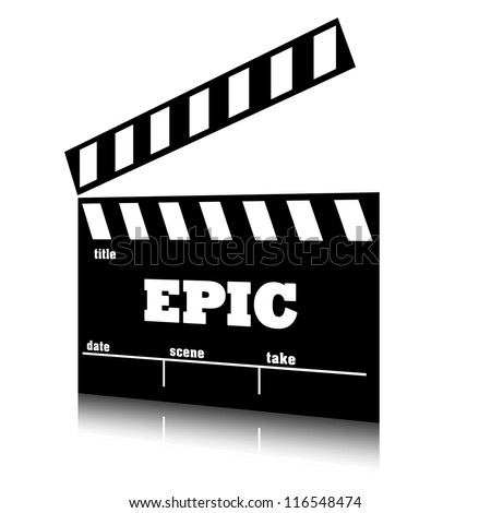 Clap film of cinema epic genre, clapperboard text illustration. - stock photo