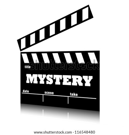 Clap film of cinema mystery genre, clapperboard text illustration.