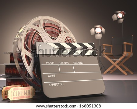 Clapboard concept of cinema.  - stock photo