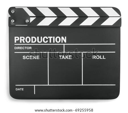 Clapboard on white background - stock photo