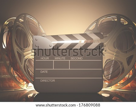 Clapboard with back light. Your name, time and date on clapboard. - stock photo