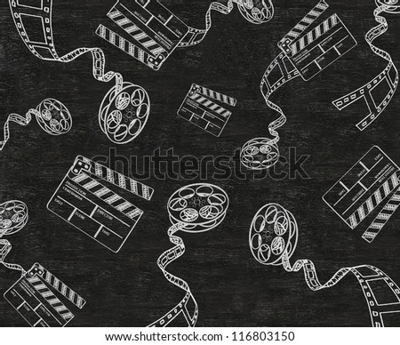 clapper board and film written on blackboard background collection set. - stock photo