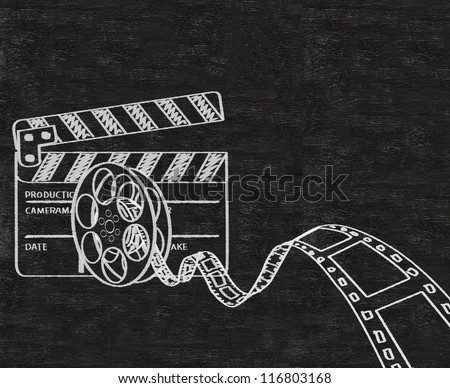 clapper board and movie film roll written on blackboard background collection set. - stock photo